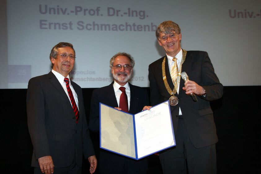 RWTH Rector Schmachtenberg, Dr. John Mylopoulos, and Prof. Wolfgang Thomas