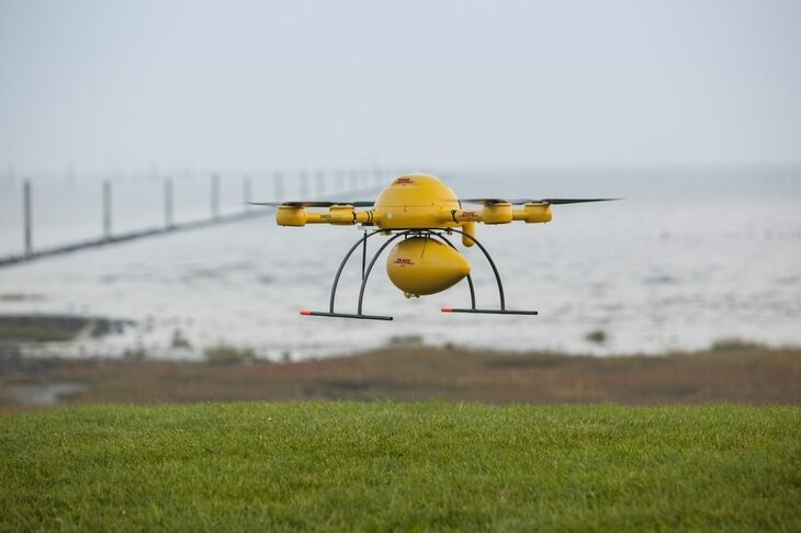 multicopter hovering over the ground